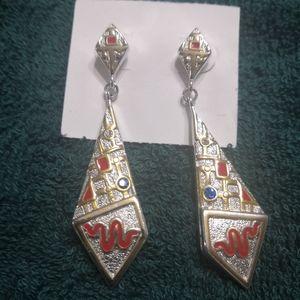 Large geometric stud dangle drop earrings